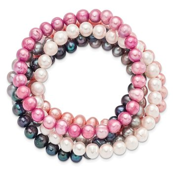 7-8mm FWC Pearl 5pc White/Grey/Black/Pink/Purple Stretch Bracelet Set