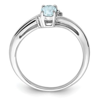 Sterling Silver Rhodium Plated Diamond & Aquamarine Oval Ring