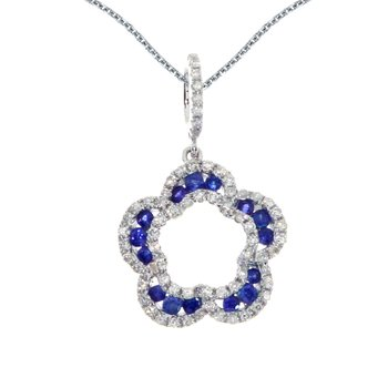 14k White Gold Sapphire and Diamond Open Clover Pendant
