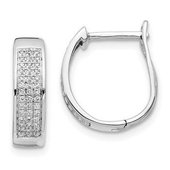 14k White Gold Diamond Hinged Oval Hoop Earrings