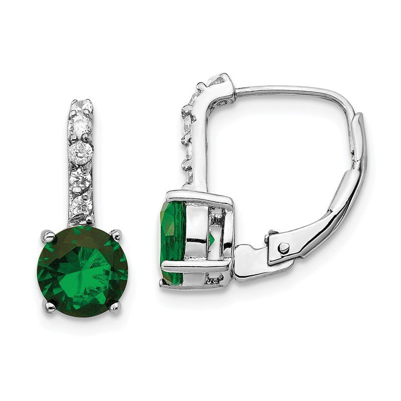 Cheryl M Cheryl M Sterling Silver Rhod Plated CZ & Green Glass Leverback Earrings