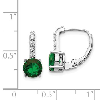 Cheryl M Sterling Silver Rhod Plated CZ & Green Glass Leverback Earrings