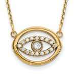 JC Sipe Essentials 14ky Medium Necklace Diamond Gold Halo Evil Eye