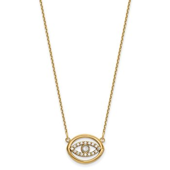14ky Medium Necklace Diamond Gold Halo Evil Eye