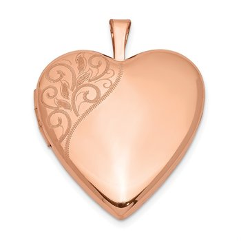 Sterling Silver Rose Gold-plated 20mm Polished Swirl Heart Locket