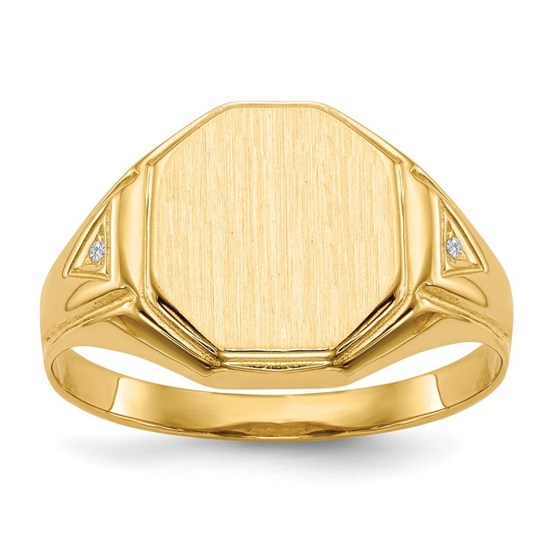 Quality Gold 14k 12.5x11.5mm Open Back AA Diamond Men's Signet Ring