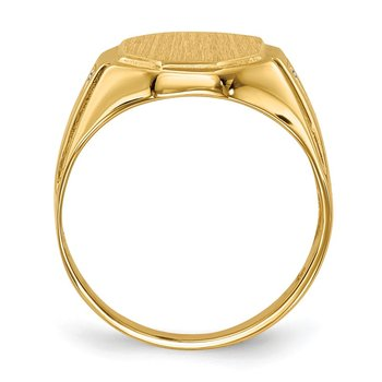 14k 12.5x11.5mm Open Back AA Diamond Men's Signet Ring