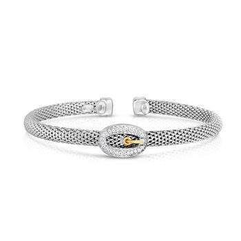 Popcorn Diamond Buckle Cuff Bracelet in Sterling Silver & 18K Gold