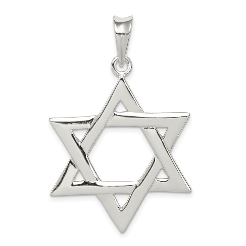 Quality Gold Sterling Silver Polished Star of David Pendant