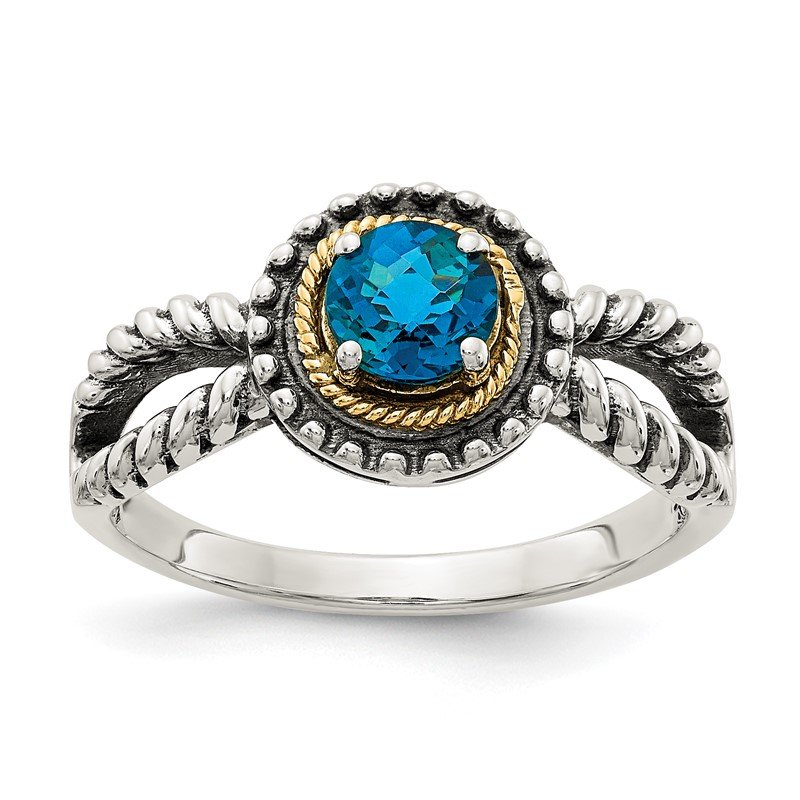 Quality Gold Sterling Silver w/ 14K Accent London Blue Topaz Ring