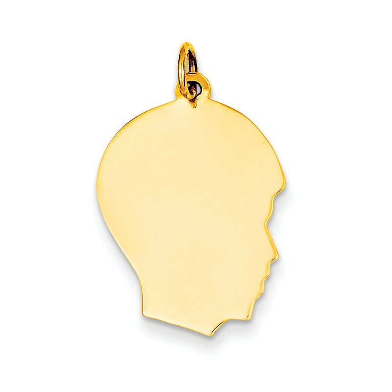 Quality Gold 14k Plain Medium .013 Gauge Facing Right Engravable Boy Head Charm