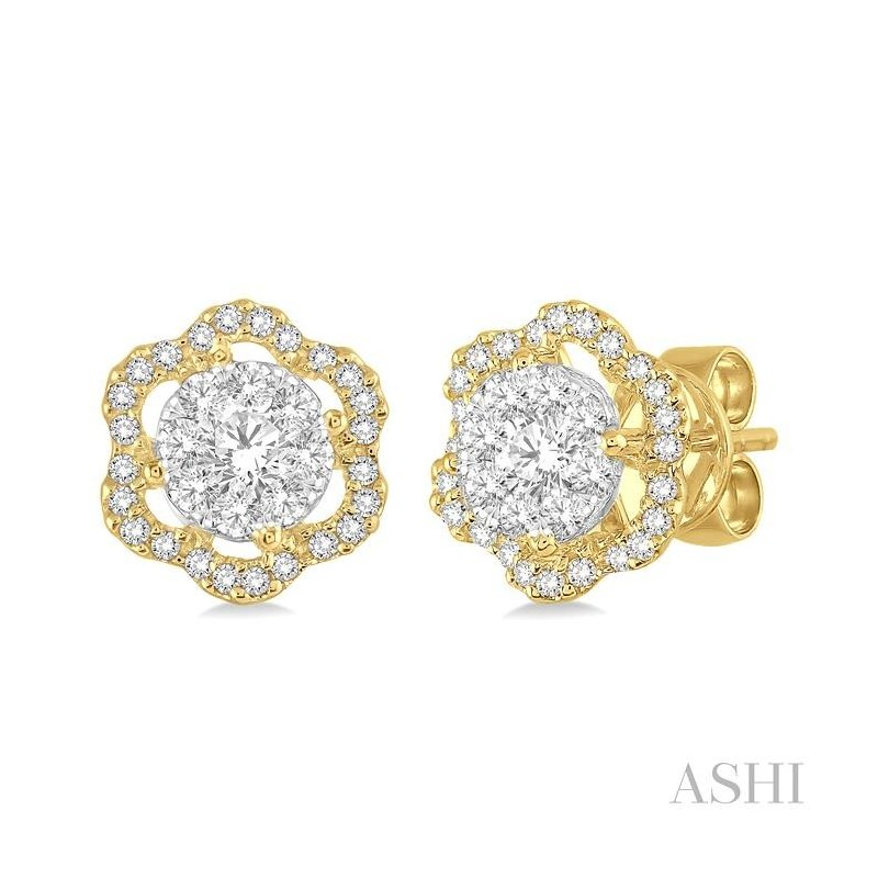 Gemstone Collection flower shape lovebright diamond earrings