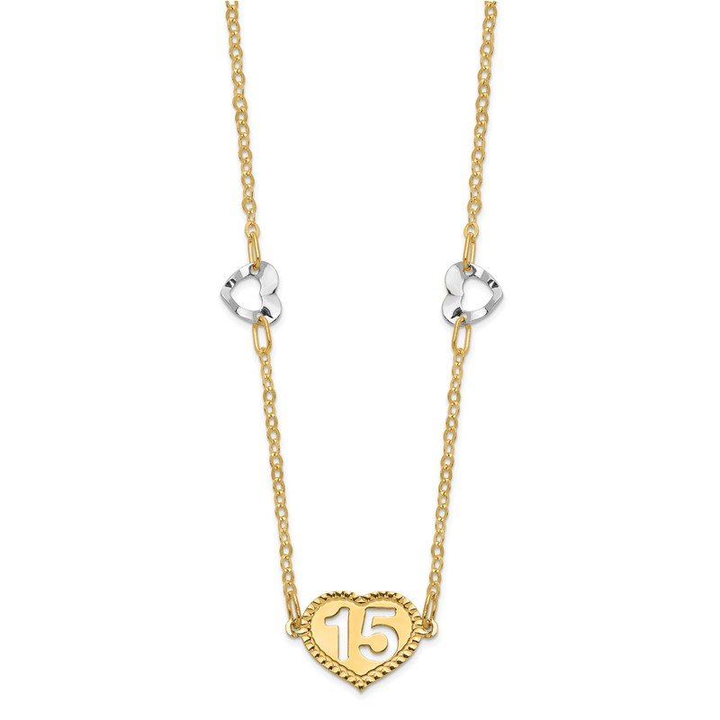 Quality Gold 14K Two-tone Polished 15 Heart w/2 in ext Necklace