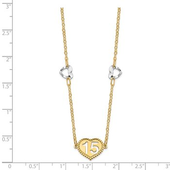 14K Two-tone Polished 15 Heart w/2 in ext Necklace