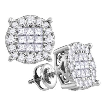 14kt White Gold Womens Princess Diamond Soleil Cluster Earrings 1/2 Cttw