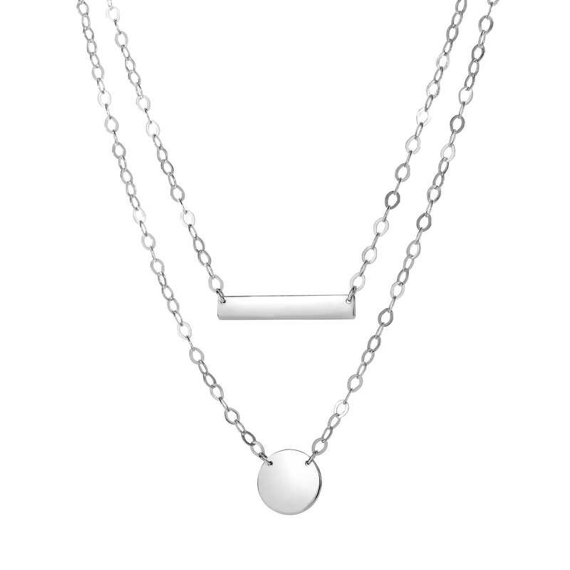 Royal Chain Silver Double Layer Disc & Bar Necklace