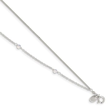 Sterling Silver Clear Crystal Beaded Anklet