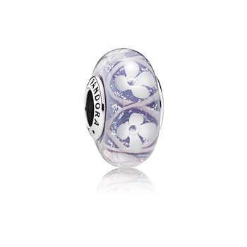 Purple Field of Flowers Charm, Murano Glass