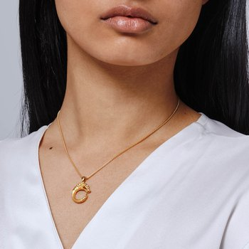 Legends Naga Pendant Necklace in Brushed 18K Gold
