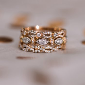 Two Tone Geometric Bar Diamond Wedding Band