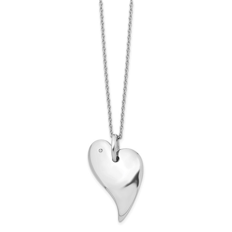 Quality Gold SS White Ice .01ct. Diamond Heart Necklace