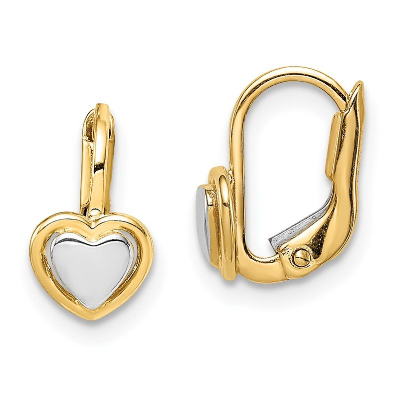 Quality Gold 14k Madi K Two-Tone Children's Heart Hoop Earrings
