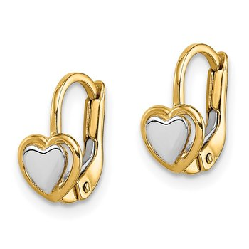14k Madi K Two-Tone Children's Heart Hoop Earrings