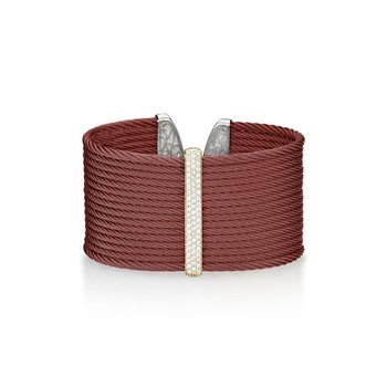 Burgundy Cable Large Colorblock/Monochrome Cuff with 18kt Yellow Gold & Diamonds