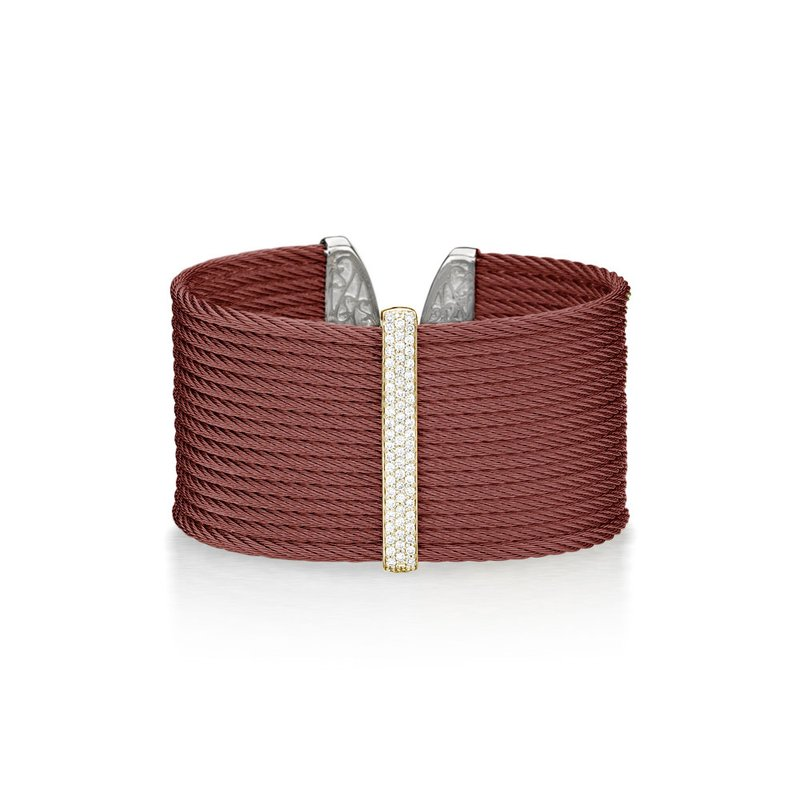 ALOR Burgundy Cable Large Colorblock/Monochrome Cuff with 18kt Yellow Gold & Diamonds