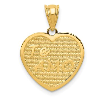 14k Polished Te Amo Heart Pendant