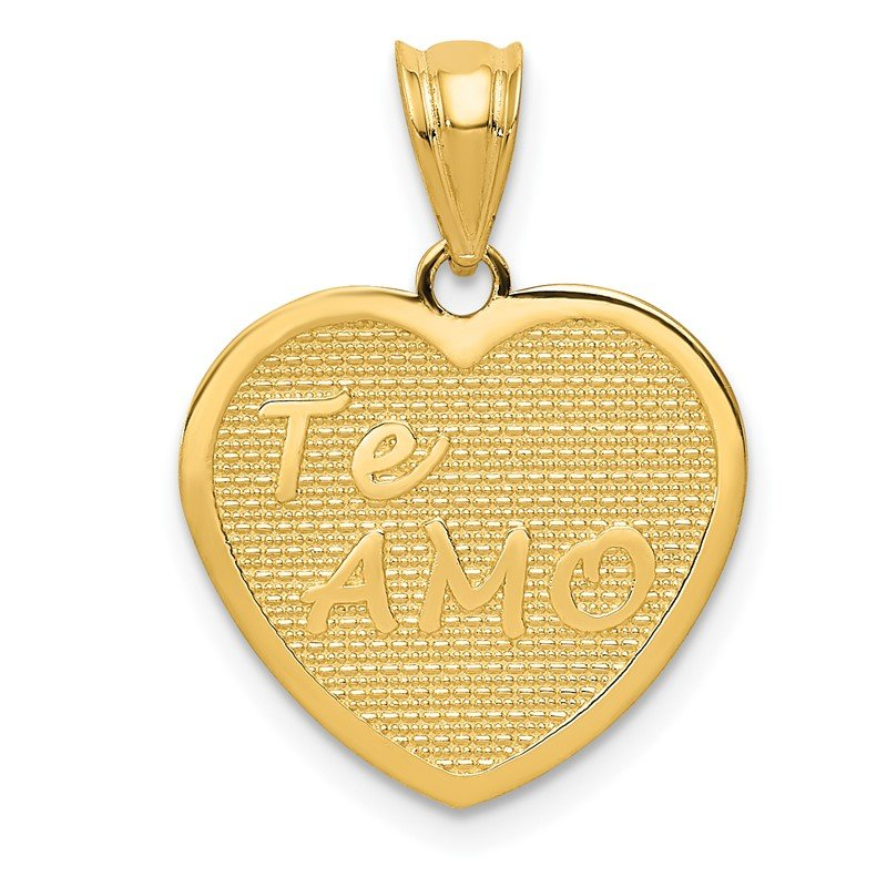 Quality Gold 14k Polished Te Amo Heart Pendant