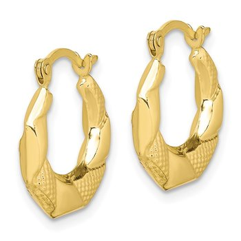 10k Scalloped Textured Hollow Hoop Earrings