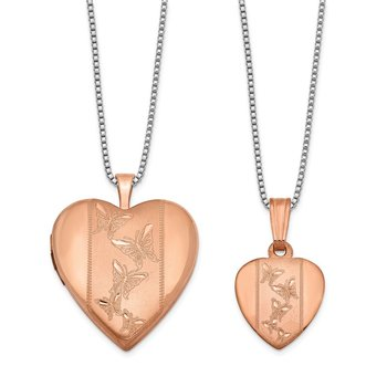 Sterling Silver Rose Gold-plated Polished and Satin Butterfly Heart Locket