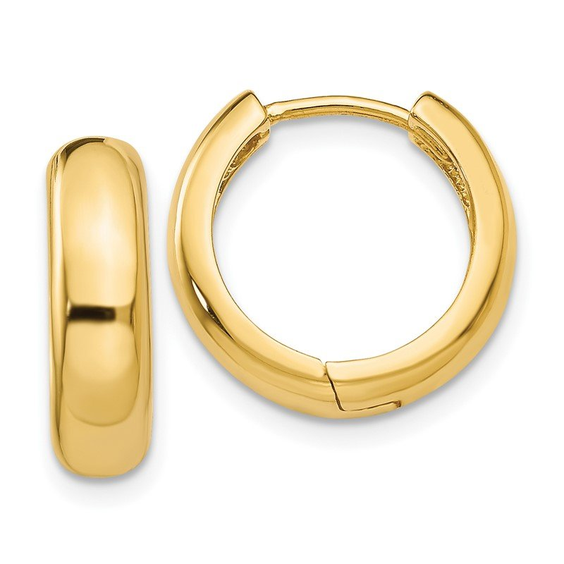 Quality Gold 14k Round Hinged Hoop Earrings
