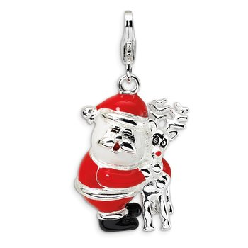 SS RH 3-D Enameled Santa and Reindeer w/Lobster Clasp Charm