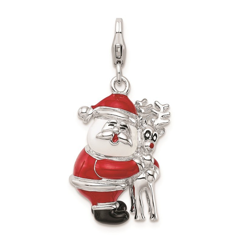 Quality Gold SS RH 3-D Enameled Santa and Reindeer w/Lobster Clasp Charm