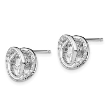Sterling Silver Platinum-pltd Swar Crystal/Vibrant CZ Post Earrings