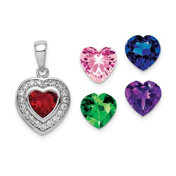 Sterling Silver Rhodium Plated Interchangeable CZ Heart Pendant