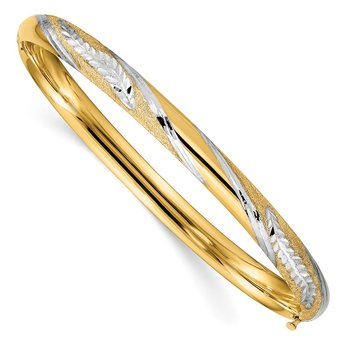 14K w/White Rhodium Diamond-cut Leaf Twisted Design Hinged Bangle