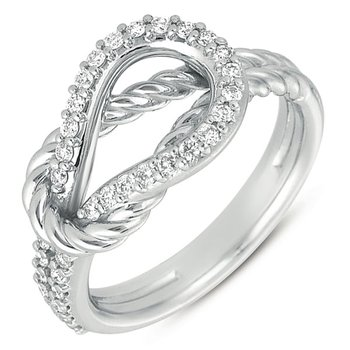 White Gold Rope Love Knot Ring