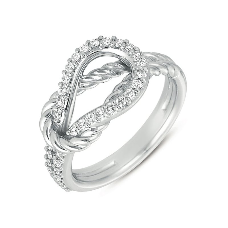 S. Kashi  & Sons White Gold Rope Love Knot Ring