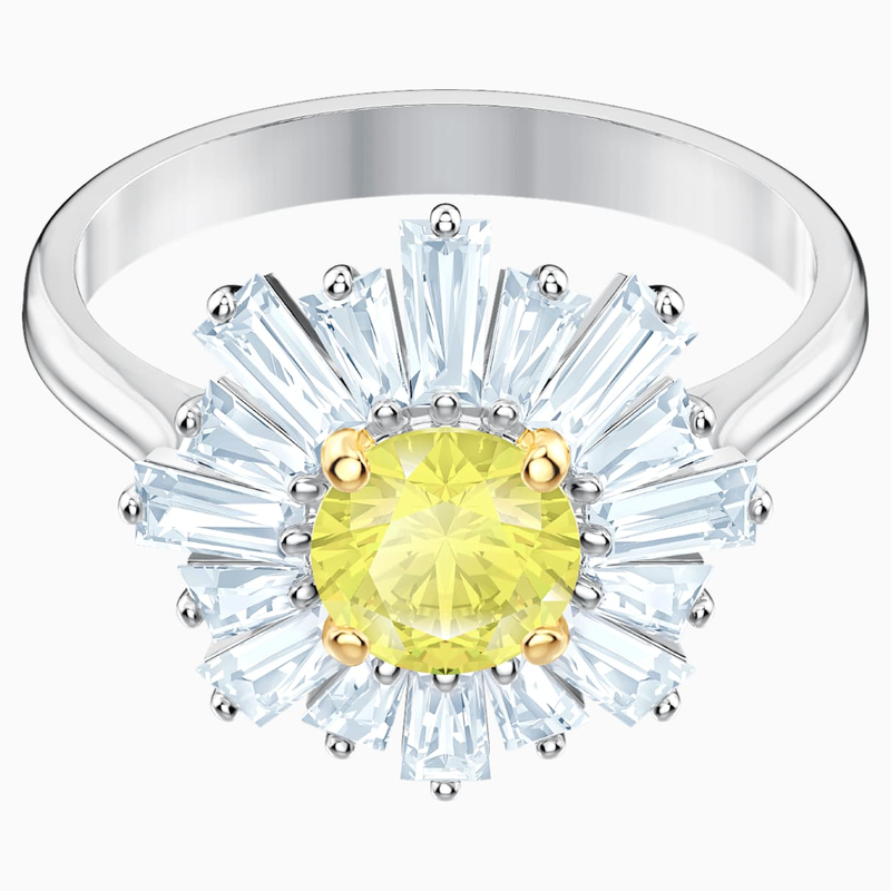 Swarovski Sunshine Ring, Yellow, Rhodium plated