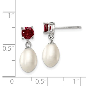 Sterling Silver RH Garnet 7-8mm FW Cultured Pearl Teardrop Earrings