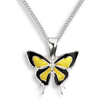 Yellow Butterfly Necklace.Sterling Silver