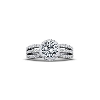 Triple Diamond Row Engagement Ring