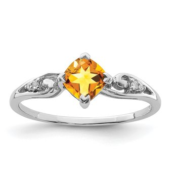 Sterling Silver Rhodium Plated Diamond and Citrine Cushion Ring