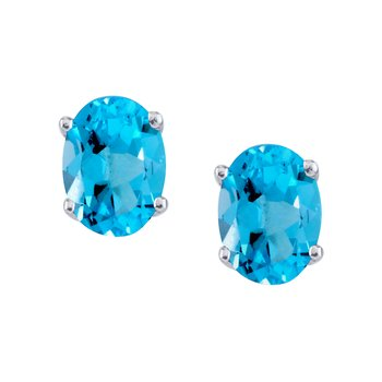 14k White Gold Large 6x8 mm Oval Blue Topaz Studs