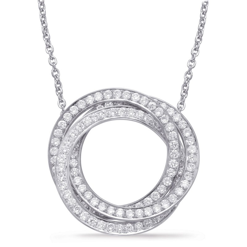 S. Kashi  & Sons White Gold Diamond Circle Pendant