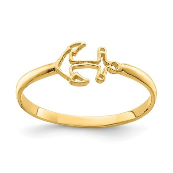 14K Polished Anchor Ring