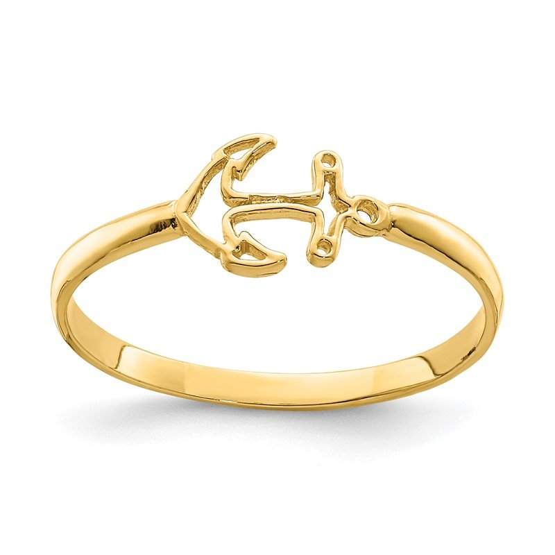 Quality Gold 14K Polished Anchor Ring
